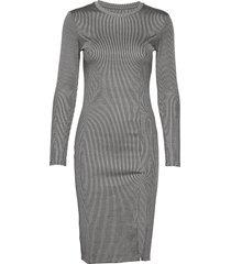 rib knit slit dress knälång klänning grå ivyrevel