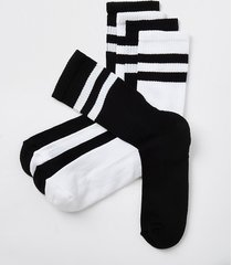river island mens black stripe design socks 5 pack