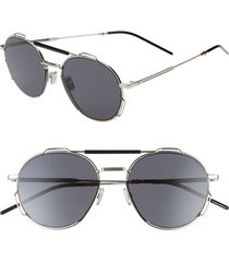 men's dior 54mm round sunglasses - palladium black/gray