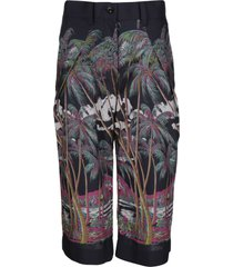 sacai multicolor print cropped trousers