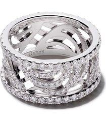 de beers 18kt white gold aria full diamond pavé band ring