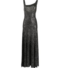 annamode flared polka dot maxi dress - black