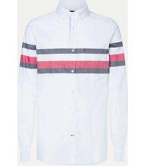camisa de rayas con corte slim blanco tommy hilfiger