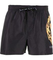 versace medusa head swimming shorts - black