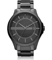 armani exchange designer men's watches, hampton black stainless steel men's watch