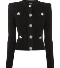 balmain structured shoulders cardigan - black