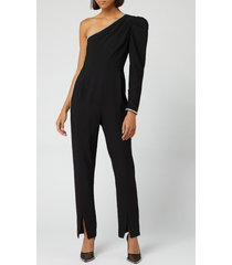 self-portrait women's one shoulder crepe jumpsuit - black - uk 12