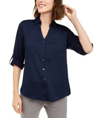 bcx juniors' tab-sleeve button-front blouse
