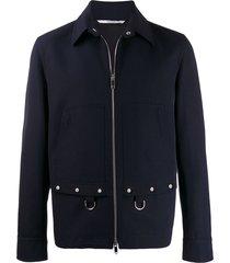 valentino ring-embellished work jacket - blue