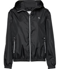 large ck logo hooded sommarjacka tunn jacka svart calvin klein jeans