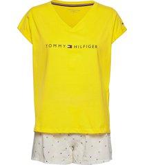 ss short set print pyjama geel tommy hilfiger