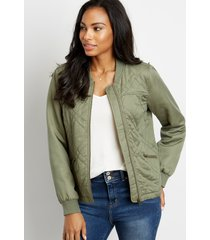 maurices womens green quilted bomber jacket