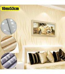 no tejido 10m wave 3d papel tapiz de fondo de la raya de la media luna rollo de papel de pared decoración para el hogar (n pegamento) - amarillo