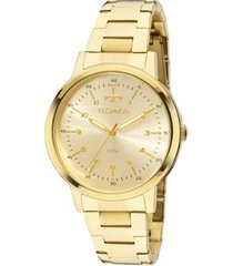 relógio feminino technos elegance dress 2035mfn/4d 39mm aço dourado