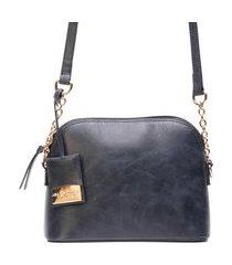 bolsa couro ana cavalcanti tiracolo com corrente preto envelhecido
