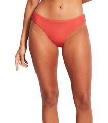 women's seafolly essentials hipster bikini bottoms, size 10 us - coral