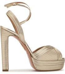 aquazzura caprice platform sandals - gold