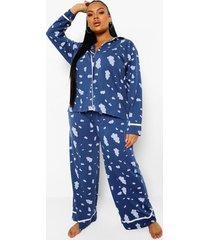 plus wolkenprint pyjama set met biezen, blue