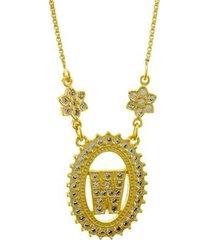 colar horus import letra w zircônia banhado ouro 18k feminino