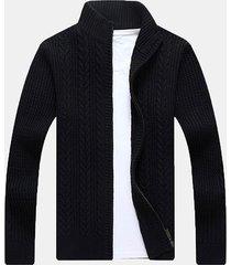 mens casual twist modello maglione lavorato a maglia tinta unita con collo a maniche lunghe