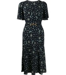 alberta ferretti star-print toggle detail dress - blue
