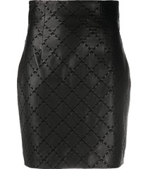 balmain stitch detailing fitted skirt - black