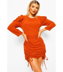 extreem geplooide mini jurk, burnt orange