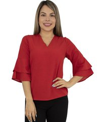 elvira burgos - blusa para dama elegante manga campana en chalis poliéster - ref 77162230 – rojo