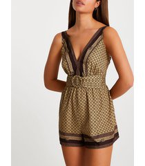 river island womens brown belted cover up playsuit
