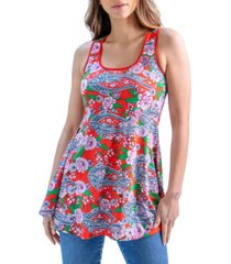 women's flared loose fit floral print tank top