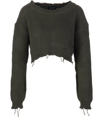 woman military green cropped sweater with distressed hemline