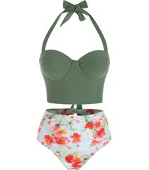 floral print cutout push up tankini swimsuit