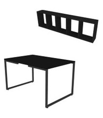 conjunto de mesa de jantar retangular e nicho vali preto