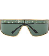 stella mccartney eyewear studded logo mask sunglasses - gold