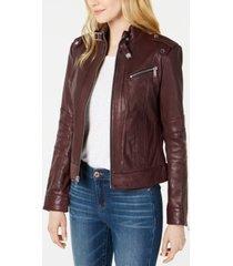 marc new york front-zip leather moto jacket