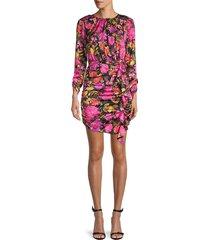 for love & lemons women's dakota floral ruched dress - punch - size xs