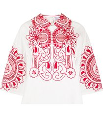 red valentino floral embroidery shift blouse - white