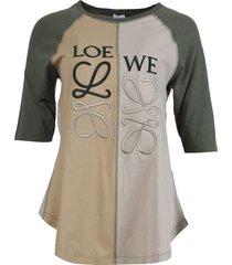 asymmetric anagram t-shirt, khaki green and beige