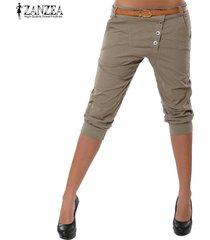 s-3xl zanzea mujeres midi pantalones casuales pantalones de cintura baja carrera elásticas -beige
