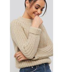 na-kd round neck chunky sweater - beige