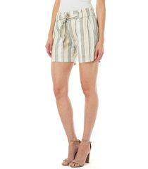 women's liverpool stripe porkchop pocket belted linen blend shorts, size 0 - green