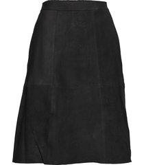 yasponderosa mw midi suede skirt ft knälång kjol svart yas