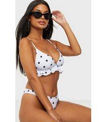 missguided polka dot frill hem bikini top top