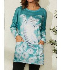 camicetta tascabile casual a maniche lunghe con stampa gatto dei cartoni animati per donna