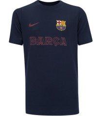 camiseta barcelona tee core nike - masculina - azul escuro