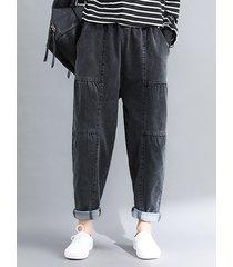 pantaloni harlan in vita elasticizzati tinta unita vintage per donna