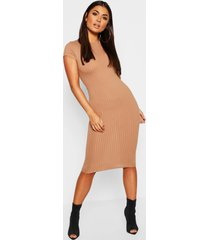 cap sleeved ribbed bodycon dress, camel