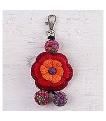 crocheted key chain, 'jubilant' (peru)