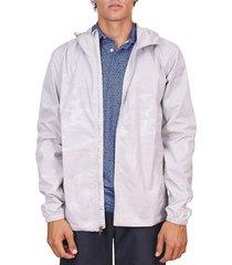 tailorbyrd men's camo windbreaker jacket - light grey - size xl