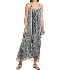 women's chelsea28 animal print double scoop chiffon maxi dress, size x-large - black